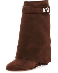 Suede shark lock fold over bootie brown medium 826432