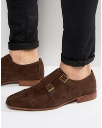 Asos Monk Shoes In Brown Faux Suede