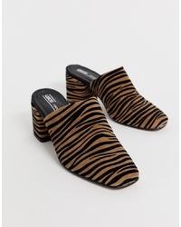 ASOS DESIGN Sancho Premium Leather Mules In Zebra