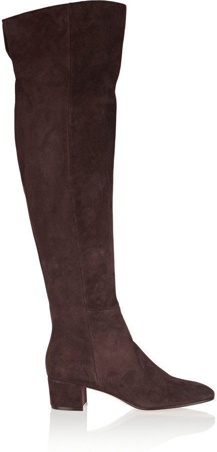 Gianvito Rossi Suede Over The Knee Boots Dark Brown   Where to buy ...