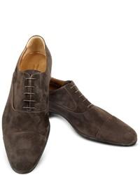 Dublin dark brown suede cap toe oxford shoes medium 405244