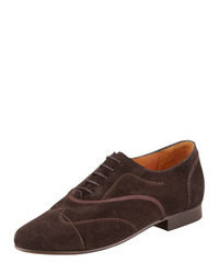 Lanvin Flat Suede Oxford Brown