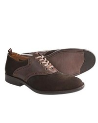 Johnston and Murphy Decatur Saddle Shoes Oxfords Dark Brown Suede