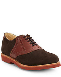 Walk-Over Suede Leather Saddle Oxford Shoes