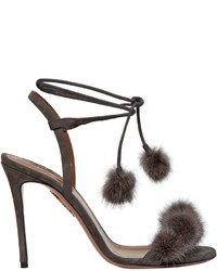 Aquazzura 105mm Wild Russian Suede Mink Sandals