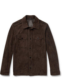 Dark Brown Suede Shirt Jacket