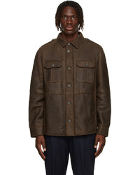 Brunello Cucinelli Brown Shearling Shirt Style Jacket