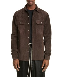 Rick Owens Giacca In Pelle Snap Up Suede Shirt