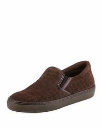 Giorgio Armani Croc Embossed Suede Slip On Sneaker Gray
