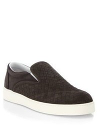 Bottega Veneta Dodger Intrecciato Woven Suede Slip On Sneakers