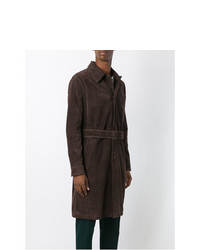 AMI Alexandre Mattiussi Suede Trench Coat Brown