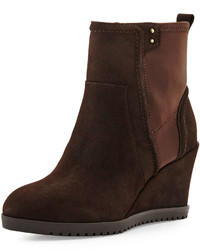 Taryn Rose Beula Suede Wedge Bootie Dark Brown