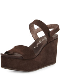 Dark Brown Suede Wedge Sandals