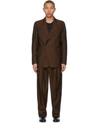 Ermenegildo Zegna Couture Brown Cotton Suit