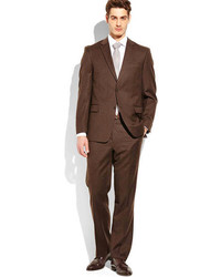 Dark Brown Trim Fit Two Button Suit