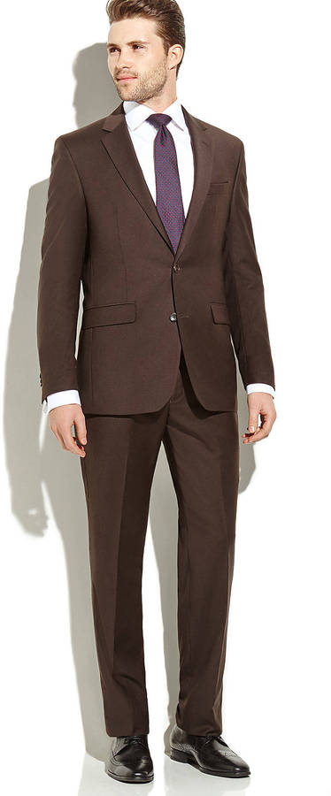 Kenneth Cole Dark Brown Solid Suit | Where to buy & how to wear