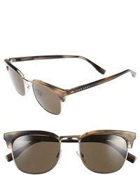 BOSS 52mm Retro Sunglasses Brown Horn Silver Dark Brown