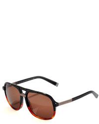 DSQUARED2 Acetate Aviator Sunglasses Black Gradient To Havanasemi Shiny Gunmetal