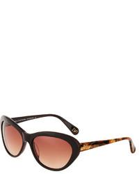 Diane von Furstenberg Alana Modified Cat Eye Acetate Sunglasses Chocolate