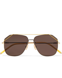 Fendi Aviator Style Gold Tone Sunglasses