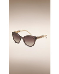 Burberry Check Detail Oval Frame Sunglasses