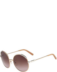 Chloé Chloe Eria Round Mixed Metal Sunglasses Dark Brown