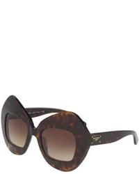 Dolce & Gabbana Exaggerated Cat Eye Sunglasses Havana