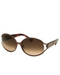 Fendi Oval Shinny Brown Sunglasses