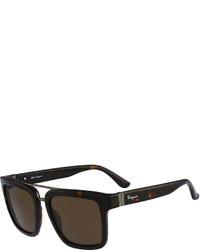 Salvatore Ferragamo Gancio Plastic Sunglasses Brown
