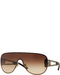 Versace Gradient Greek Key Shield Sunglasses Brown