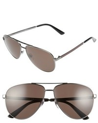 Gucci 61mm Aviator Sunglasses Dark Ruthenium Brown Grey