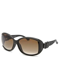 Gucci Rectangle Textured Matte Dark Brown Sunglasses