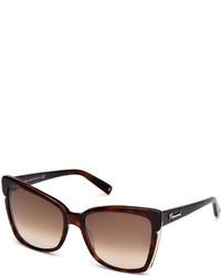 Dsquared2 Metal Trim Square Plastic Sunglasses Dark Havana