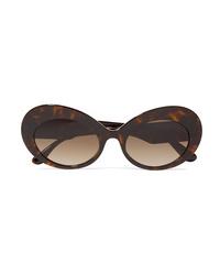 Dolce & Gabbana Oval Frame Tortoiseshell Acetate Sunglasses