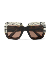 Gucci Oversized Square Frame Med Tortoiseshell Acetate Sunglasses