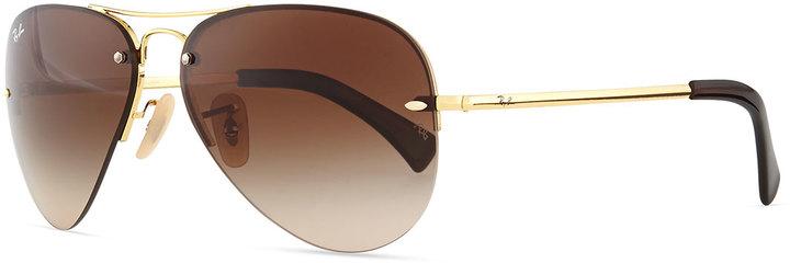 ray ban semi rimless polarized sunglasses  ray ban semi rimless aviator sunglasses goldbrown