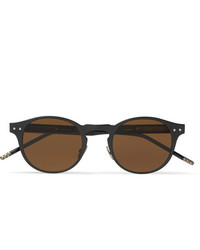 Bottega Veneta Round Frame Coated Aluminium And Acetate Sunglasses