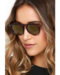 LuLu*s Saratoga Brown And Dark Gold Mirrored Sunglasses