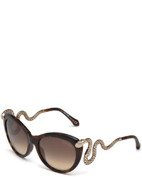 Roberto Cavalli Snake Temple Butterfly Sunglasses Dark Brown