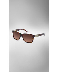 Burberry Square Frame Brushed Metal Detail Sunglasses