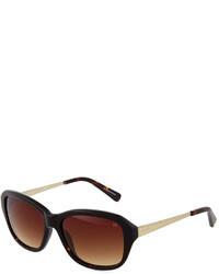 Nina Ricci Stripe Detail Round Acetate Sunglasses Dark Tortoise