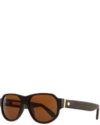 Stefano Ricci Sunglasses With Crocodile Arms Brown