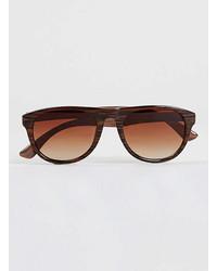 Topman Brown Striped Aviator Sunglasses
