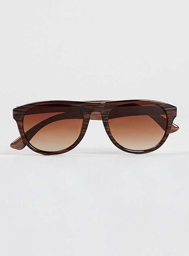 544319221ec ... Topman Brown Striped Aviator Sunglasses ...