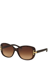 Tory Burch Universal Fit Squared Cat Eye Sunglasses Dark Tortoise
