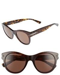 Valentino Garavani Valentino 51mm Round Sunglasses Dark Havana