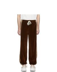 Gucci Brown And Beige G Rhombus Velvet Track Pants