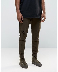 Tapered joggers with rips and zip pockets in brown medium 3757376