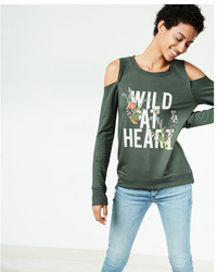 Express Wild At Heart Cold Shoulder Graphic Sweatshirt