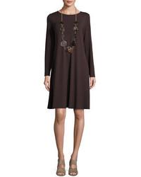Eileen Fisher Long Sleeve Jersey Swing Dress Petite